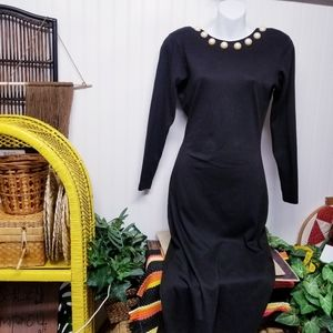 Jeweled 1980s Dress Bodycon Black  S